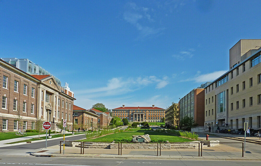 This is a picture of Henry mall at the University of Wisconsin - Madison campus. The mall features several buildings such as the Agricultural Chemistry Building, which was constructed in 1912.