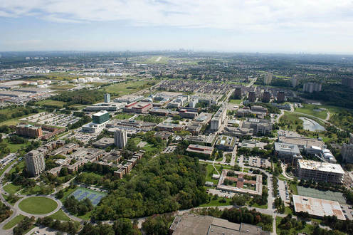 This is an amazing view of the York University campus. You can see various libraries as well as several of the departmental buildings and lecture halls.