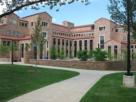 This is the Wolf Law Building at the University of Colorado Boulder. It as completed in 2006 and provides a space for students to meet in common areas and attend classes.