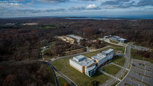 This is an aerial view of Stony Brook University. The campus spans 1,454 acres and it is located on the North Shore of Long Island.