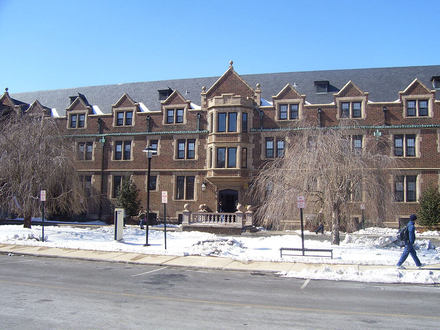 This is Newell Hall at Towson University. It was originally built in 1914 and is the oldest residence hall on the Towson University campus.