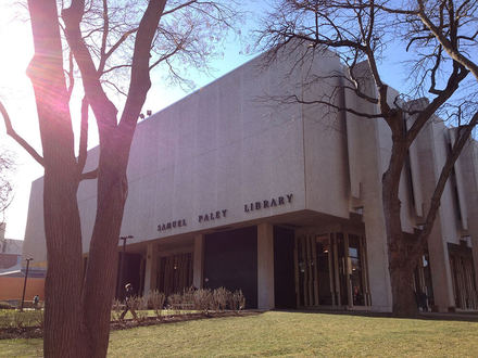 This is the Samuel Paley Library at Temple University. It is located near the center of the campus and holds most of the university's books and journal collections.