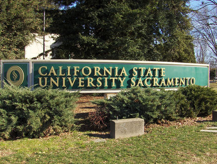 This is the front  entrance of the California State University Sacramento. The campus is located in Sacramento it sapns over 300 acres.