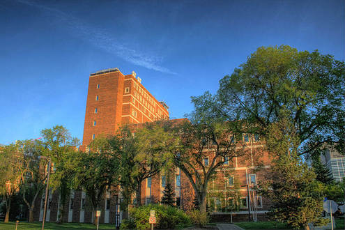 A shot of the Biological Sciences Building at the University of Alberta. It houses various lecture halls and labs for students enrolled in the sciences.
