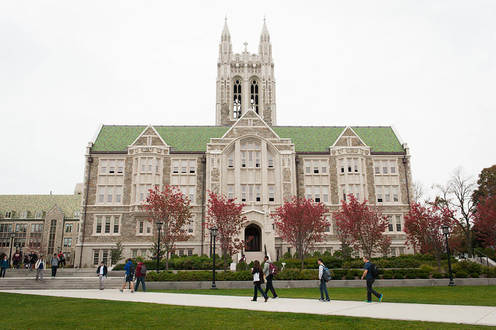 This is the O'Neill Library at Boston College. This is the main research library at BC and it is located close to the center of the campus.