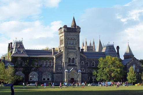 This is a good picture of University College at the University of Toronto. This building houses various classrooms and is often a favourite spot for tourists visiting the university
