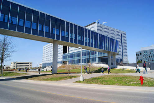 This is the Egineering 5 Building at the University of Waterloo. It houses the Student Design Centre and provides a place for engineering students to build robots and solar panels.