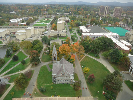 This is a great aerial view of the University of Massachusetts at Amherst campus. It was captured from one of the top floors at the W.E.B. Du Bois Library.