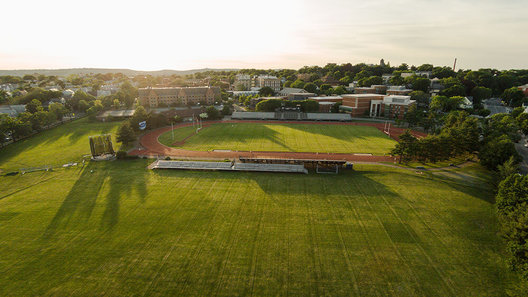 This is a great view of the outdoor track at the Ollis Oval at Tufts University. This field was built in 1894 and includes a football field.