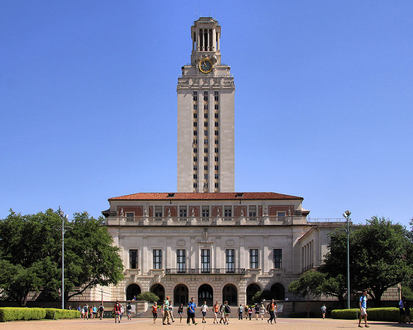 This is the Main Building at the University of Texas at Austin. It is located at the center of the school campus and it is approximately 307 feet tall and was completed in 1937.