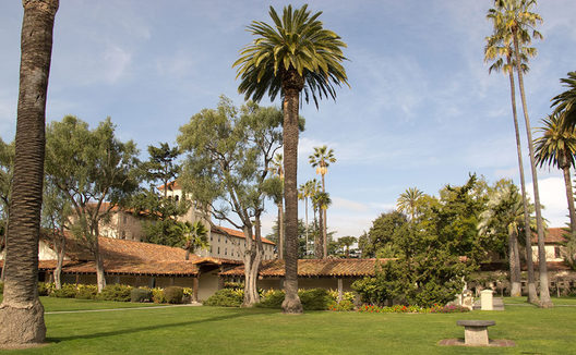 This is a great shot of the campus at Santa Clara University. The campus is full of palm trees and other green vegetation all year round due to the warm climate.